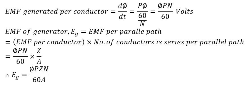 EMF equation of a dc generator