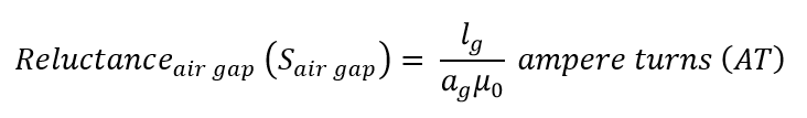 Reluctance of air gap in a magnetic circuit