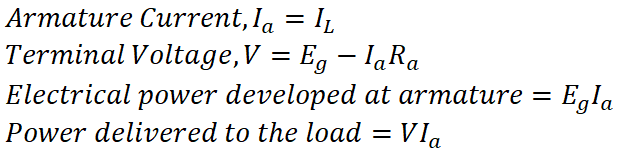 Types of DC Generators Separately Excited Equation