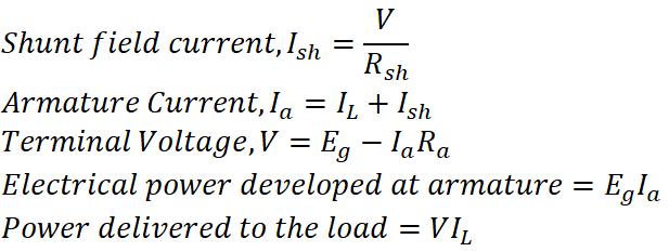 Shunt DC Generator Equation