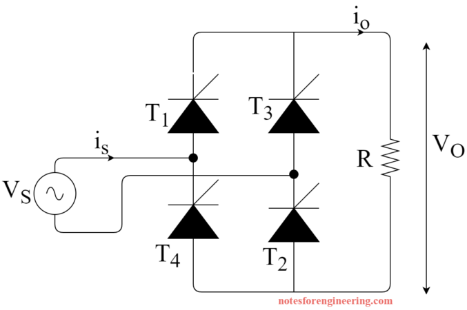 Single Phase Full Converter with R load