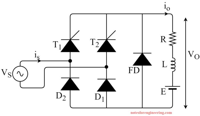 Circuit Diagram of Single Phase Semi Converter